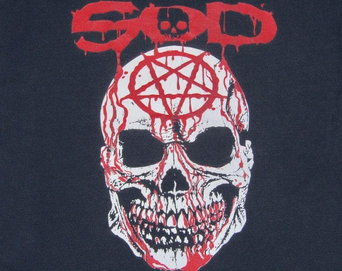 L * vtg 90s SOD Sounds Of Death metal magazine t shirt * 37.134