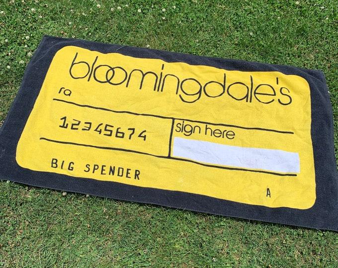 vtg 80s / 90s Bloomingdales beach towel * credit card
