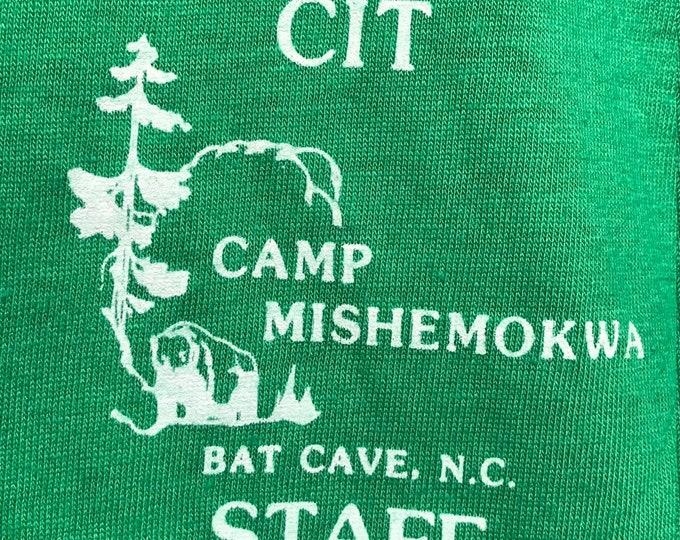 S nos thin vtg 80s Camp Mishemokwa Bay Cave North Carolina screen stars t shirt