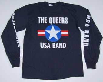 M * NOS vtg 90s The Queers lookout records long sleeve t shirt * punk