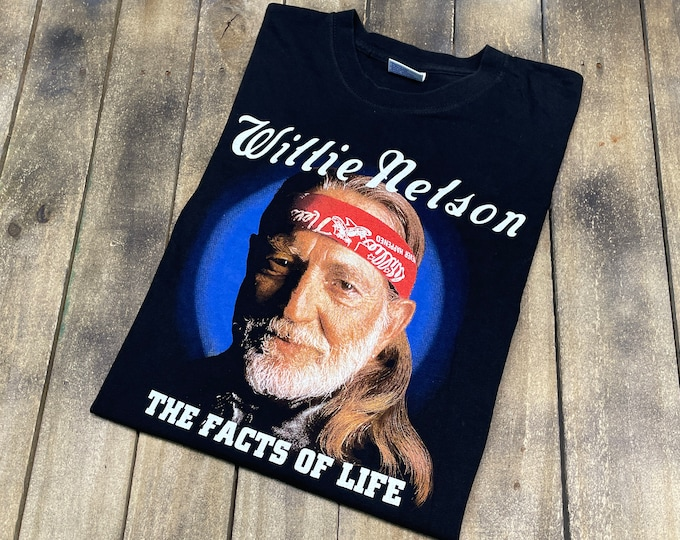 L * vintage Willie Nelson book t shirt * the facts of life and other dirty jokes tour country music