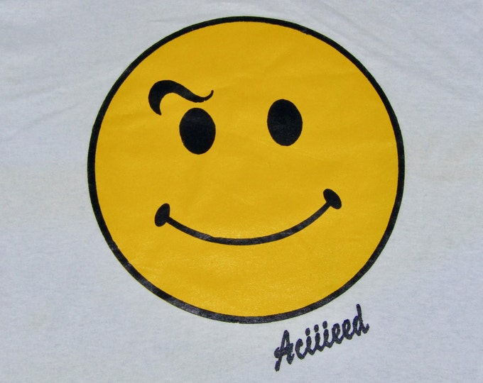 b9315b690 M * NOS vtg 80s/90s Acid House smiley face t shirt * happy Aciiieeed