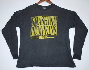 L * vtg 90s 1992 Smashing Pumpkins Gish UK tour l/s t shirt * 98.28