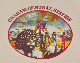 S * vtg 70s 1975 Graham Central Station funk soul t shirt * larry sly and the family stone ain't no bout a doubt it rap sample * 45.184