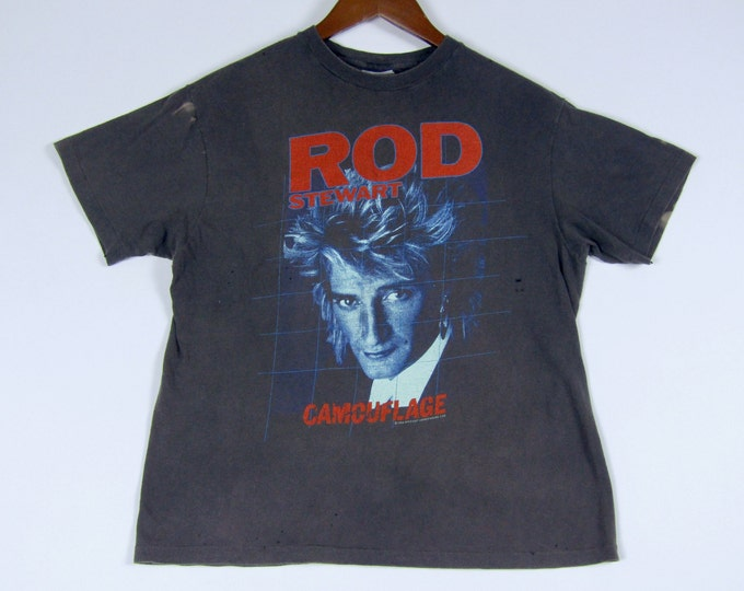 S/M * vtg 80s 1984 Rod Stewart concert tour t shirt * small medium * 65.174