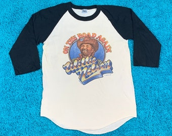 M/L * thin vtg 1980 Willie Nelson on the road again raglan tour t shirt * medium large * 37.146