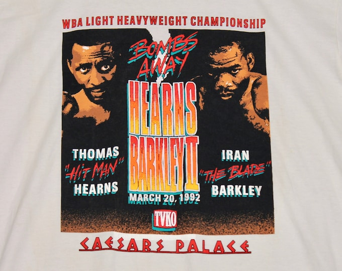 L * NOS vtg 90s 1992 Thomas Hearns v Iran Barkley boxing t shirt * caesars palace * 31.144