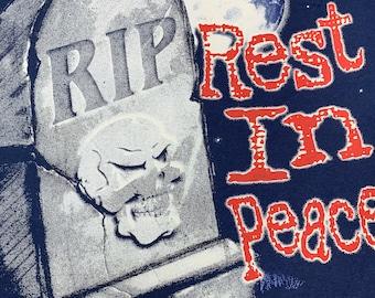 XL * nos vtg 90s Rest In Peace t shirt * skull horror * 78.128