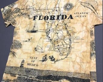 XXL vintage 90s 1992 all over print Florida t shirt * 54.164