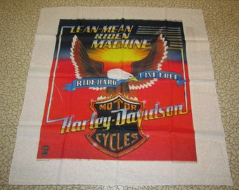 "44.5""x45"" NOS vtg 80s Harley Davidson banner * wall hanging biker art motorcycle"