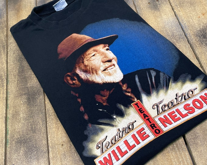 L * vtg 90s 1998 Willie Nelson Teatro t shirt * classic country music outlaw * 63.188
