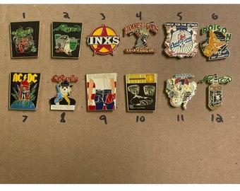 Pic any 3 vintage 80s pin lot * poison led zeppelin inxs ac/dc dokken bruce springsteen t shirt public enemy