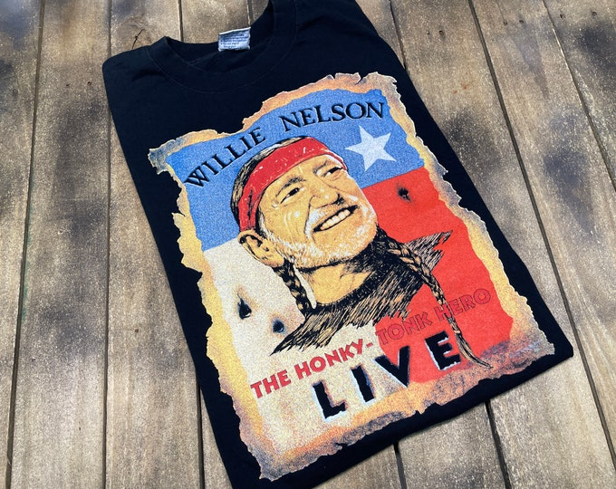 L * vtg Willie Nelson t shirt * classic country music outlaw concert tour * 63.187