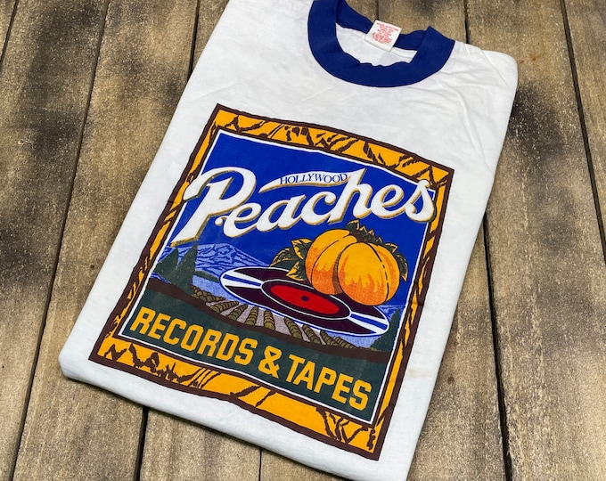 S * deadstock vintage 70s Peaches Records and Tapes Hollywood CA t shirt * original record store * 63.184