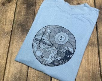 M * deadstock vintage 70s renewable ENERGY t shirt * yin yang TRW elements boho hippie * 69.159