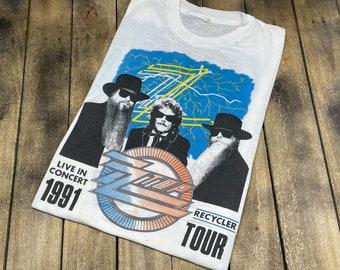 M/L * thin vintage 90s 1991 ZZ Top Recycler tour t shirt * medium large * 66.176