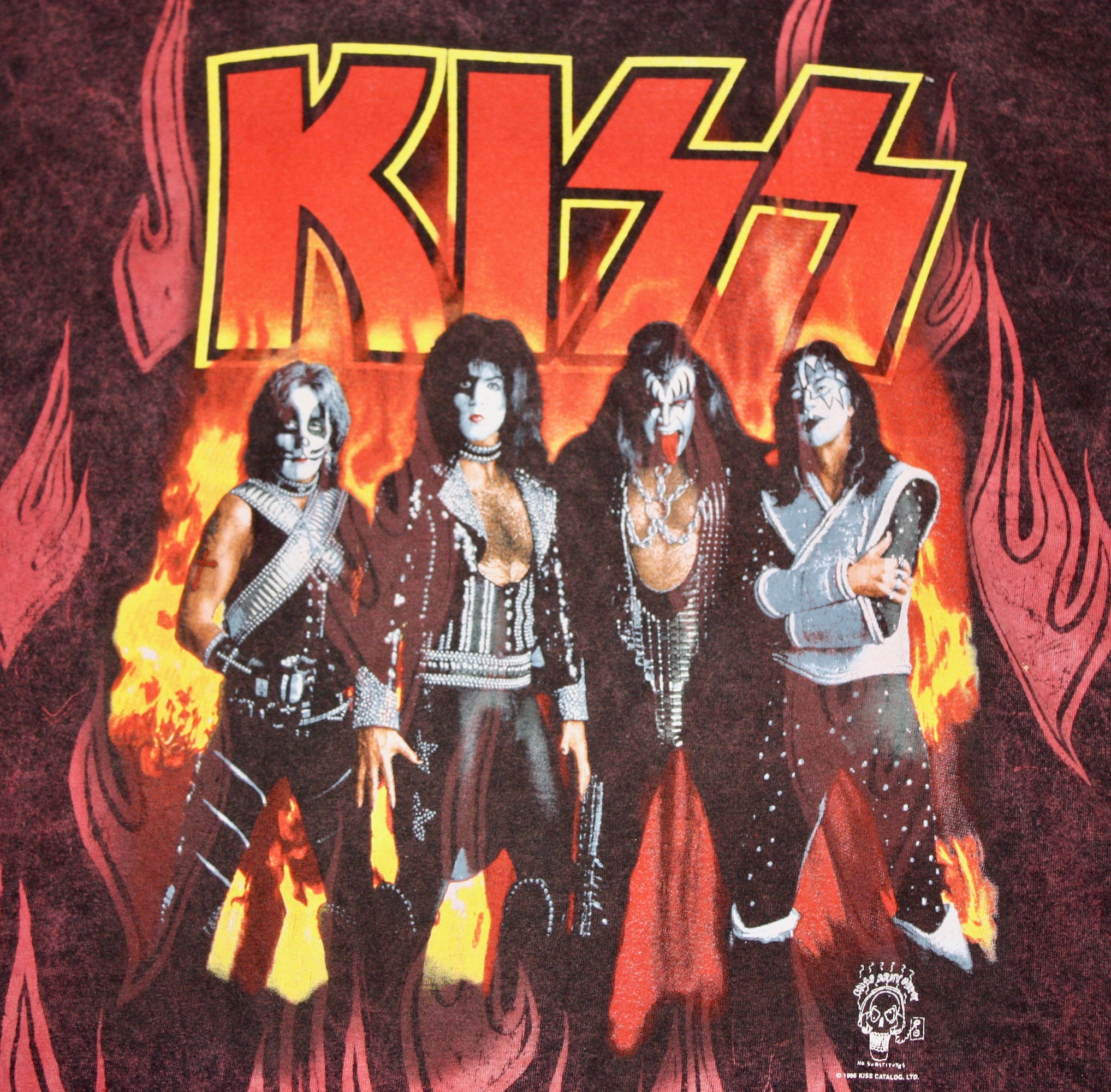 XL/XXL * vtg 90s 1996 KISS Acid Wash all over print t shirt * band