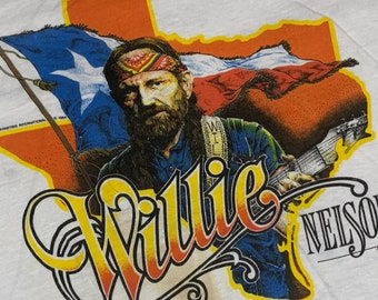 S * nos thin vtg 80s 1984 Willie Nelson tour t shirt * ringer outlaw classic country * 71.161