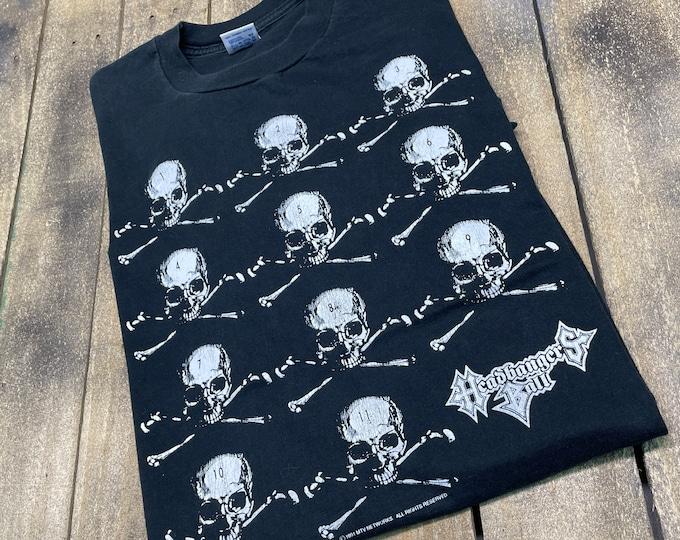 L * vintage 90s 1991 MTV Headbangers Ball t shirt * heavy metal tv show concert tour * 31.150