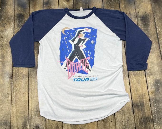 L * vintage 80s 1983 David Bowie raglan tour t shirt * 32.207
