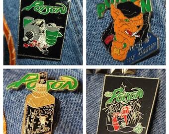 Lot of 4 * NOS vtg 80s POISON licensed enamel pin for shirt jacket hat Glam Metal