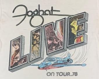 S * thin vtg 70s 1978 FOGHAT live tour t shirt * classic rock * 93.56