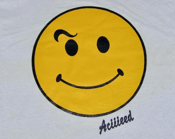 Womens Tie Dye Happy Smile Face Acid Rave T-Shirt