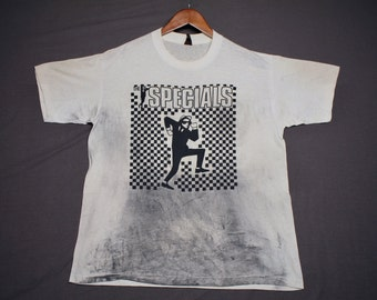 L * thin vtg 80s perfectly trashed The Specials 2 Tone Ska t shirt * 100.24