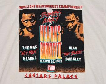 L * NOS vtg 90s 1992 Thomas Hearns v Iran Barkley boxing t shirt * caesars palace * 31.144