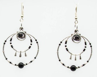 Black and white double hoops, cabochon beads and mirror