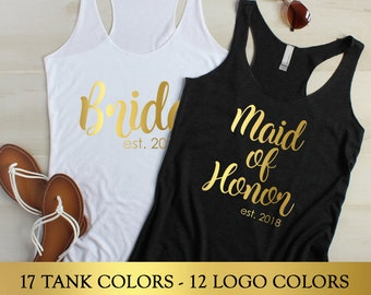 Bridesmaid Shirts, Bridesmaid Proposal Gift, Bridesmaid Tank Top, Bachelorette Shirts, Maid of Honor Tanks, Mother of the Bride flowy tank