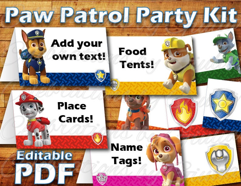Printable Paw Patrol Birthday Party Food Label Tent Card Instant Digital Download For Use As Paw Patrol Party Place Cards Name Tags Skye