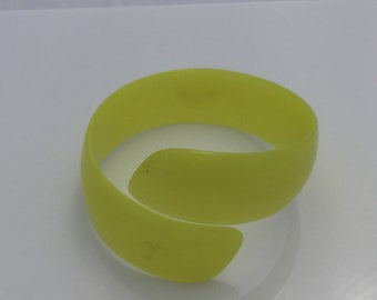 Bright Yellow Moonglow Lucite Wrap Bracelet