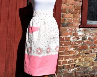 Vintage Pink and Cream Floral Half Apron