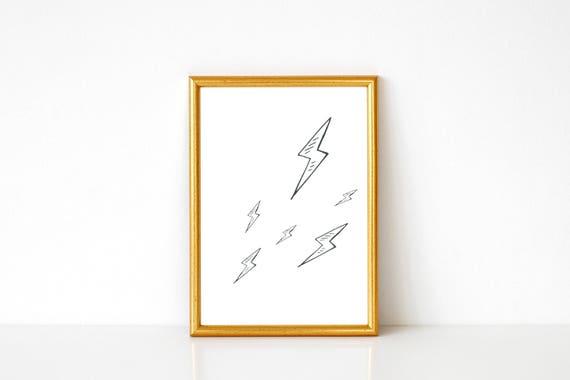 lightning bolts print lightning wall art lightning poster