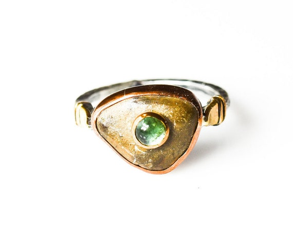Handmade Fossil Ring , Silver Fossil ring, Tourmaline ring, Silver Ring, Statement Ring, Unique Ring, Custom Ring, For Her