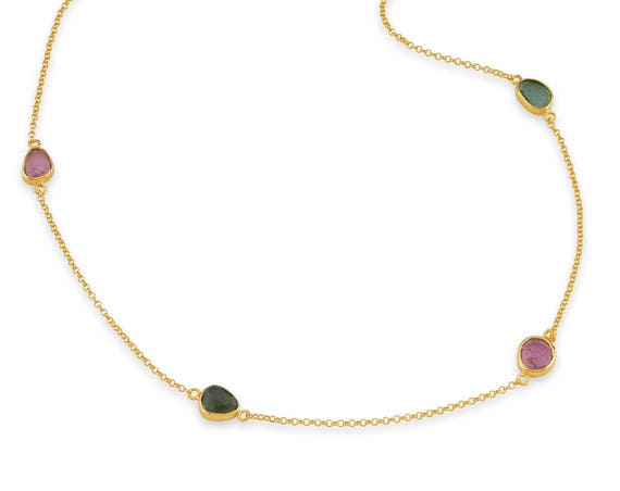 Silver Tourmaline Necklace,24 Karat Gold Plated Necklace, Simple Necklace, Minimal Necklace, Natural Tourmaline, Mothers Day Gift, For Her