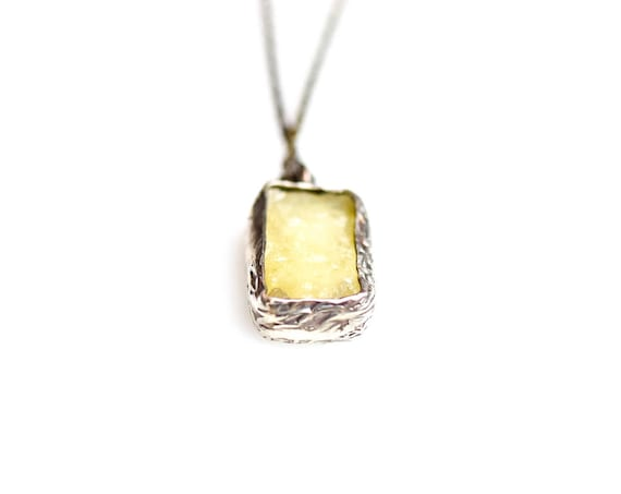 Silver Druzy Smithsonite Pendant,Smithsonite Necklace, Druzy Necklace, Drusy , Minimalist Necklace,Dainty Necklace,Gift For Her