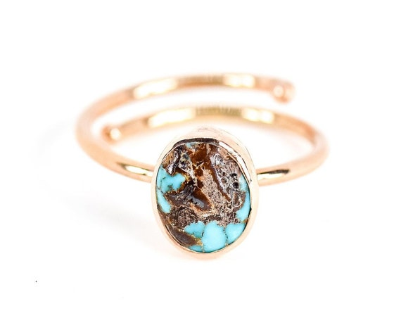Sterling Silver Turquoise Ring ,  Rose Gold  Plated Over Silver