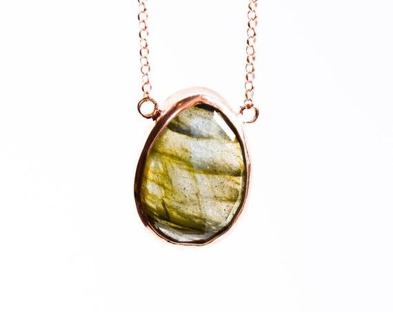 Silver Labradorite Necklace , Rose Gold Necklace , Labradorite  Necklace , Simple Necklace, Minimal Necklace, Natural Gemstone , For Her