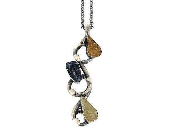 Silver Fluorite , Moonstone, Tiger's Eye Necklace