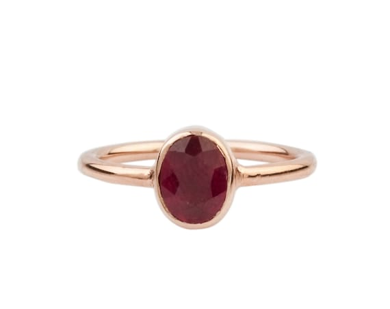 Silver Natural Ruby Ring In Rose Gold