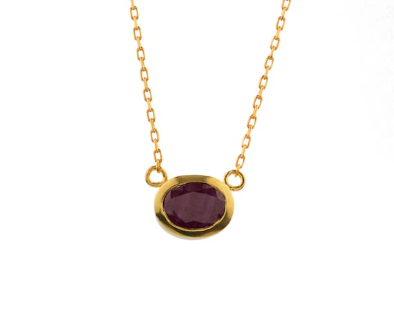 Silver Ruby Necklace Rose Gold Plated Gift For Her