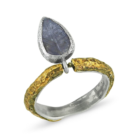 Handmade Silver Tanzanite Ring, Oxidized Ring, Natural Tanzanite Ring, Statement Ring, Tanzanite Ring, December Birthstone , Leaf Ring
