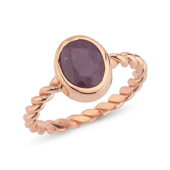 Silver Natural Twisted Wire Ruby Ring, Solitaire Ring, Rose Gold Ring, Minimalist Ring, Rose Gold Ruby Ring, Minimalist , Natural Gemstone,