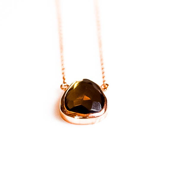 Smoky Quartz Necklace, Rose Gold Necklace, Natural Smoky Quartz Necklace, Dainty Necklace, Minimal Necklace, ,Gift For Her