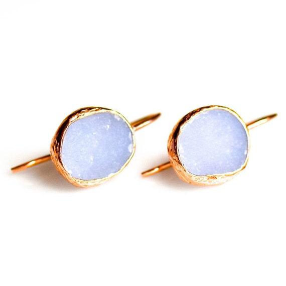 Silver Drusy Blue Chalcedony Earrings, Rose Gold Chalcedony Earrings, Raw Chalcedony, Druzy, Dainty Earrings, Gift For Her