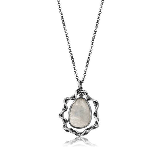 Silver Rainbow Moonstone Pendant  Gift For Her