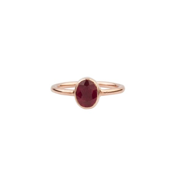Silver Natural Ruby Ring, Solitaire Ring, Rose Gold Ring, Minimalist Ring, Rose Gold Ruby Ring, Minimalist , Natural Gemstone, Gift For Her
