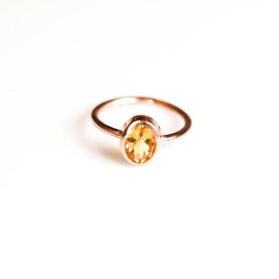 Citrine Ring,Natural Citrine Ring,Rose Gold Citrine Ring,Simple Citrine  Ring, November Birthstone Ring, Dainty,Gift For Her